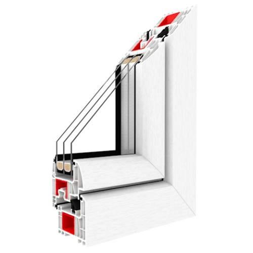 Kunststofffenster IGLO Energy - 7-Kammerprofil Klasse A 3 Dichtungsebenen 2 Designvarianten 82mm Bautiefe Max. Glasstärke bis 48mm