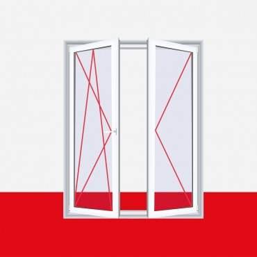 Balkontür zweiflügelig, Dreh-Kipp Links / Dreh Rechts (DKL/DR), Breite 1500mm