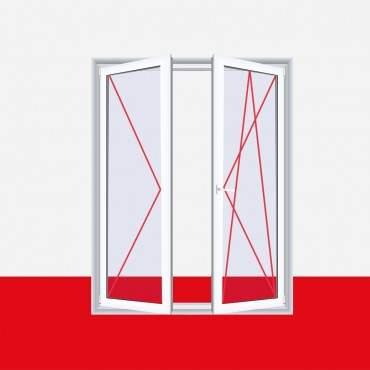 Balkontür zweiflügelig, Dreh-Kipp Links / Dreh Rechts (DKL/DR), Breite 1700mm