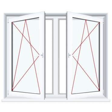 2-flügliges Kunststofffenster Anthrazitgrau Glatt Dreh-Kipp / Dreh-Kipp mit Pfosten ? Bild 3