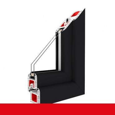 2-flügliges Kunststofffenster Anthrazitgrau Glatt Dreh-Kipp / Dreh-Kipp mit Pfosten ? Bild 1