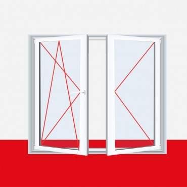 2-flügliges Kunststofffenster Aluminium Gebürstet DL/DKR o. DKL/DR mit Stulp ? Bild 2