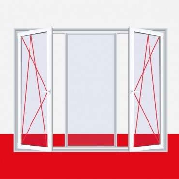 3-flügliges Kunststofffenster DKL/Fest/DKR Aluminium Gebürstet ? Bild 2
