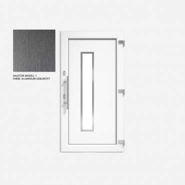 Kunststoff Haustür IGLO 5 Modell 1 aluminium gebürstet ? Bild 1