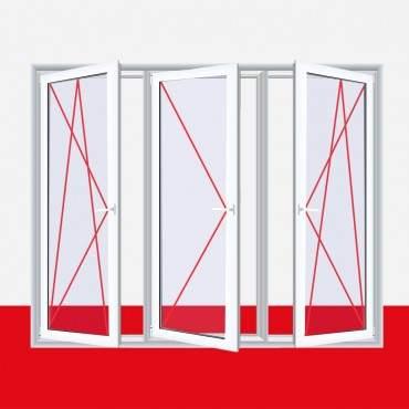 3-flügliges Kunststofffenster DK/D/DK Aluminium Gebürstet ? Bild 2