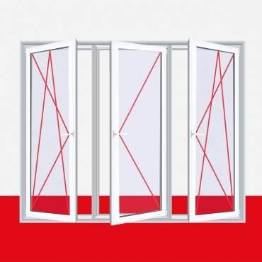 3-flügliges Kunststofffenster DK/D/DK Aluminium Gebürstet ? Bild 3
