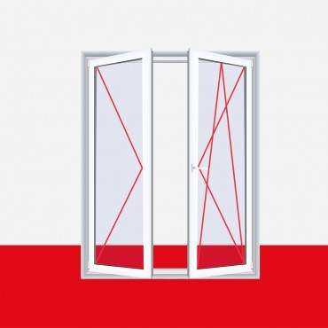 2-flüglige Balkontür Kunststoff Stulp Aluminium Gebürstet  ? Bild 3