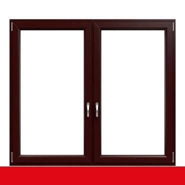 2-flügliges Kunststofffenster Braun Maron (Innen und Außen) Dreh-Kipp / Dreh-Kipp mit Pfosten ? Bild 1