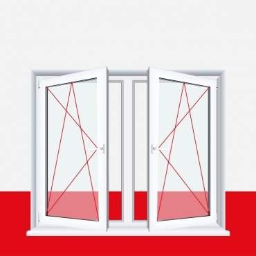 2-flügliges Kunststofffenster Aluminium Gebürstet (Innen und Außen) Dreh-Kipp / Dreh-Kipp mit Pfosten ? Bild 2
