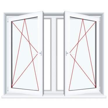2-flügliges Kunststofffenster Aluminium Gebürstet (Innen und Außen) Dreh-Kipp / Dreh-Kipp mit Pfosten ? Bild 3