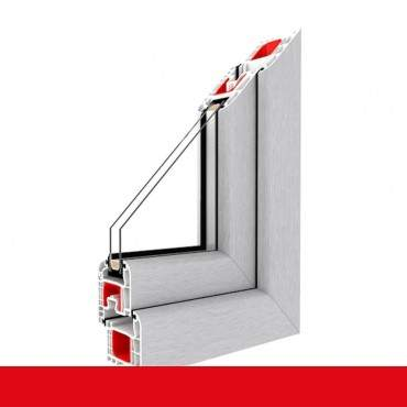2-flügliges Kunststofffenster Aluminium Gebürstet (Innen und Außen) Dreh-Kipp / Dreh-Kipp mit Pfosten ? Bild 1