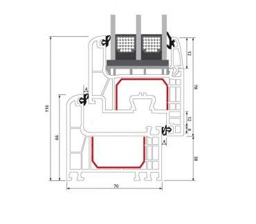 2-flügliges Kunststofffenster Crown Platin (Innen und Außen) Dreh-Kipp / Dreh-Kipp mit Pfosten ? Bild 10