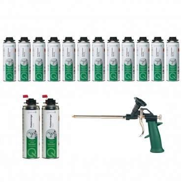 greenteQ - Profi Set - 1K Pistolenschaum XXL E - 12 Stück + Pistolenreiniger - 2 Stück + Metallpistole - 1 Stück