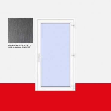 Nebeneingangstür Modell 1 Aluminium Gebürstet ? Bild 1