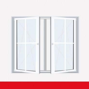 Sprossenfenster Typ 4 Felder Weiß 2 flg. DK-DK Kunststofffenster 18mm Kreuzsprosse ? Bild 1