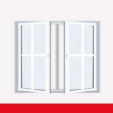 Sprossenfenster Typ 4 Felder Weiß 2 flg. DK-DK Kunststofffenster 26mm Kreuzsprosse ? Bild 1
