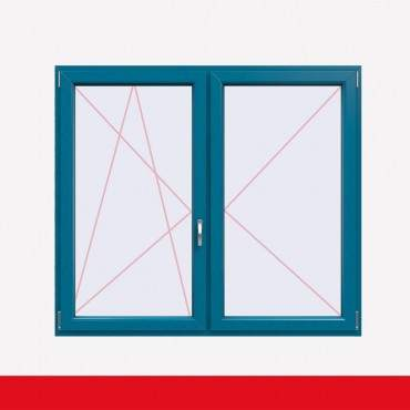 Stulpfenster Brillantblau beidseitig 2 flg. D/DK Kunststofffenster mit Stulp ? Bild 1