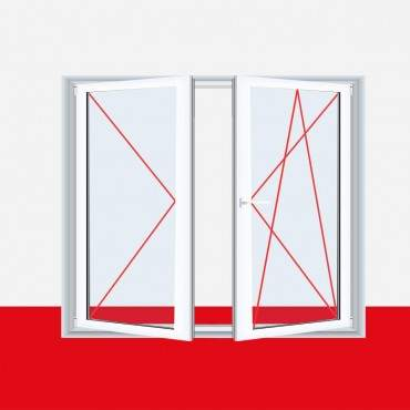 Stulpfenster Milchglas Weiß 2flg. Kunststofffenster mit Stulp ? Bild 2