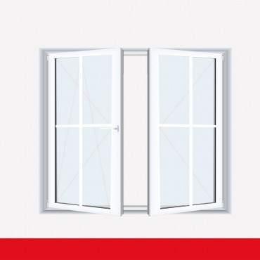 Sprossenfenster Typ 4 Felder Weiß 2 flg. Stulp Kunststofffenster 18mm Kreuzsprosse ? Bild 2