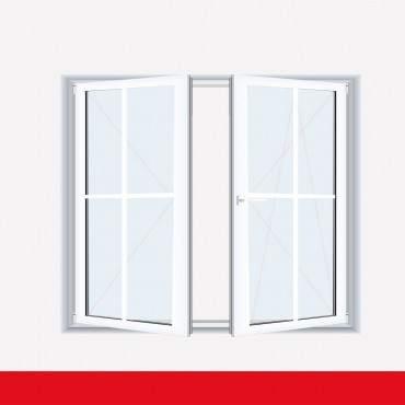 Sprossenfenster Typ 4 Felder Weiß 2 flg. Stulp Kunststofffenster 18mm Kreuzsprosse ? Bild 1
