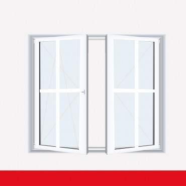 Sprossenfenster Typ 4 Felder Weiß 2 flg. Stulp  Kunststofffenster 26mm Kreuzsprosse ? Bild 1