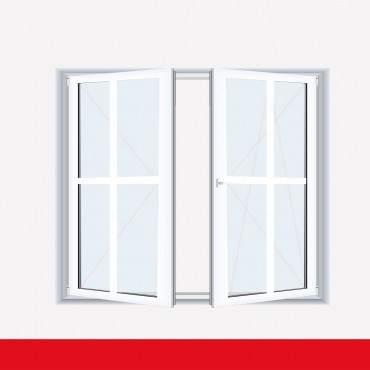 Sprossenfenster Typ 4 Felder Weiß 2 flg. Stulp  Kunststofffenster 26mm Kreuzsprosse ? Bild 2