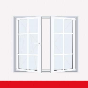 Sprossenfenster Typ 6 Felder Weiß 2 flg. Stulp Kunststofffenster 18mm SZR Sprosse ? Bild 1