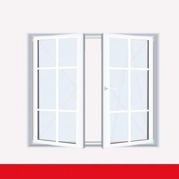 Sprossenfenster Typ 6 Felder Weiß 2 flg. Stulp Kunststofffenster 18mm SZR Sprosse ? Bild 2