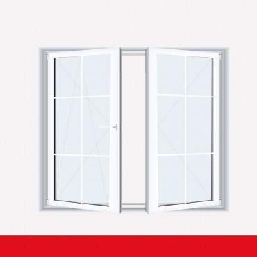 Sprossenfenster Typ 6 Felder Weiß 2 flg. Stulp Kunststofffenster 8mm SZR Sprosse ? Bild 1
