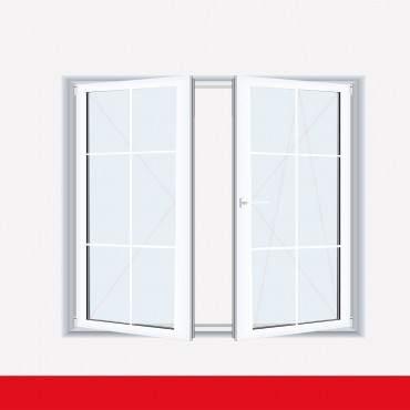 Sprossenfenster Typ 6 Felder Weiß 2 flg. Stulp Kunststofffenster 8mm SZR Sprosse ? Bild 2