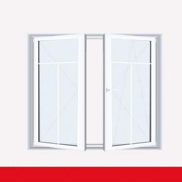Sprossenfenster Typ 3 Felder Weiß 2 flg. Stulp Kunststofffenster 8mm T-Sprosse ? Bild 2