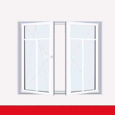 Sprossenfenster Typ 3 Felder Weiß 2 flg. Stulp Kunststofffenster 18mm T-Sprosse ? Bild 1