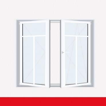 Sprossenfenster Typ 3 Felder Weiß 2 flg. Stulp Kunststofffenster 18mm T-Sprosse ? Bild 2