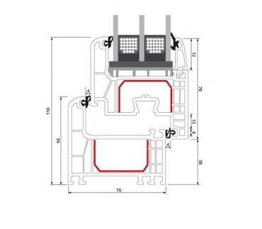 2-flüglige Balkontür Kunststoff Stulp Aluminium Gebürstet beidseitig ? Bild 9