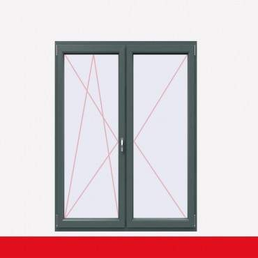 2-flüglige Balkontür Kunststoff Stulp Basaltgrau beidseitig ? Bild 1