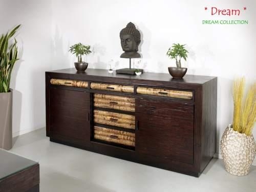 Bambus Highboard Dream (6 Schubladen + 2 Schiebetüren)