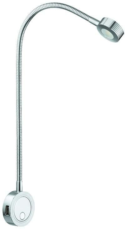 Schwanenkopf Leselampe LOOX mit 2fach USB Ladestation