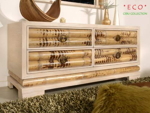 Bambus Sideboard Cebu Eco hell, groß (4 Schubladen)