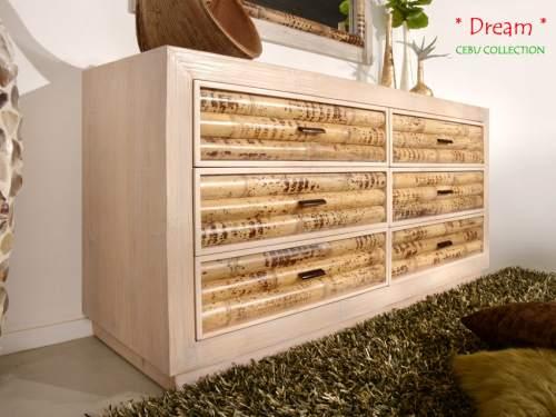 Bambus Sideboard Cebu Dream, hell (6 Schubladen)