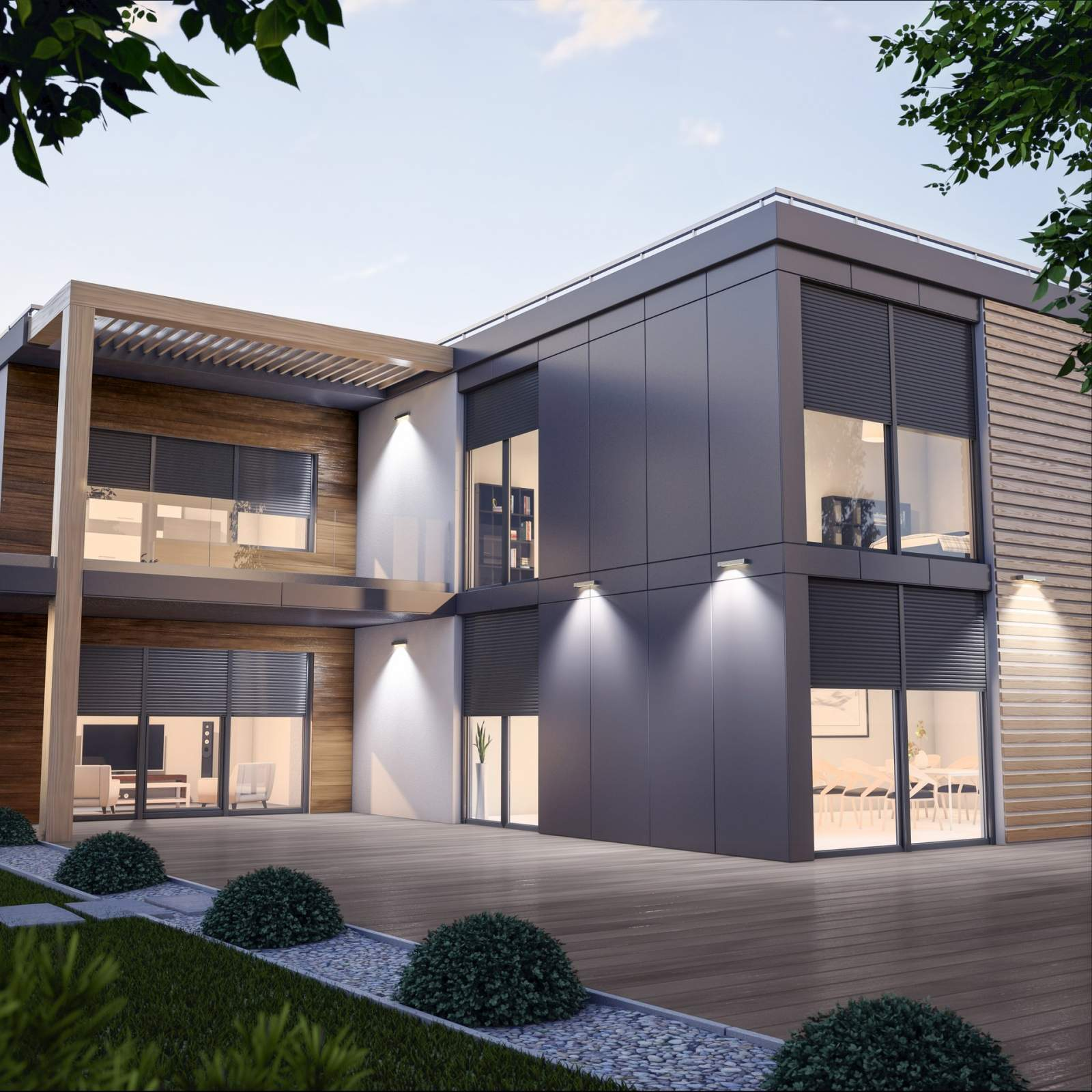 Haus komplett ausgestattet mit Drutex Rollläden aus Alumnium